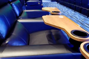 Each seat includes wide arm rests and a swivel tray with cup holder. - , Utah