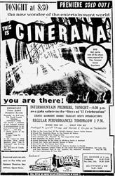 Premiere ad for 'This is Cinerama' at the Villa Theatre.