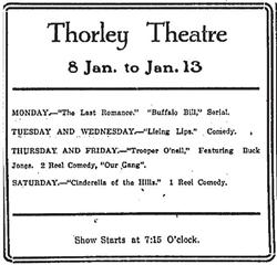 Weekly schedule of films for the Thorley Theatre in 1923.
