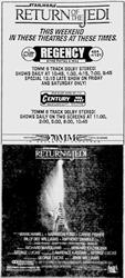 By 3 June 1983, Century switched to showing 'Return of the Jedi' in 70mm on both screens.  This may have been the first 70mm film to show in 70mm in the Century 24 auditorium. - , Utah