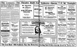 Opening day ad for the Granada Theatre. - , Utah