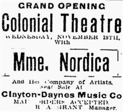 Grand Opening ad for the Colonial Theatre, featuring 'Mme. Nordocia and Her Company of Artists.' - , Utah