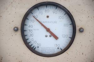 The thermometer, with a scale ranging from -30 to 130 degrees Fahrenheit. - , Utah