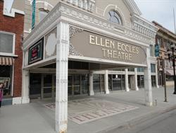 The entrance of the Ellen Eccles Theatre features a square canopy extending over the sidewalk.