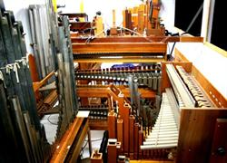 The organ chamber located directly behind the orchestra pit containing all of the organ's pipes and special effects.