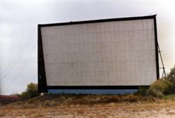 One of the screens of the Riverdale Drive-In, probably taken not long before it was dismantled in 1985.q