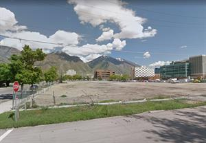 Looking across the empty lot from the west, after the theater was demolished. - , Utah