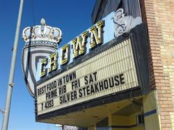 Advertising for the Silver Dollar Steakhouse on the Crown Theatre marquee. - , Utah