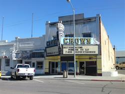 The Crown Theatre from across the street, with the Silver Dollar Steakhouse on the left.