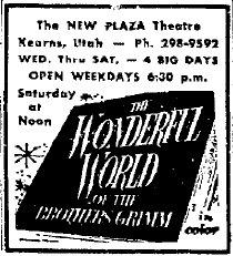 Newspaper ad for the 'NEW PLAZA Theatre'.  'The Wonderful World of the Brothers Grimm' showed 'in color' for four days in 1964.