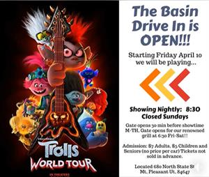 <em>Trolls World Tour</em> at the Basin Drive In, starting 10 April 2020.