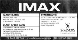 Advertisement for the IMAX Theatre and Star Theatre at the Clark Planetarium.