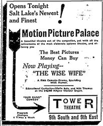 Opening day advertisement for the Tower Theatre in 1928.