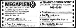 Newspaper ad for the Megaplex 8 at Thanksgiving Point.