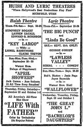 Newspaper advertisement for the Lyric Theatre in 1948. - , Utah