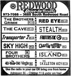 Advertisement for the Redwood Drive-In Theatre in 2005.