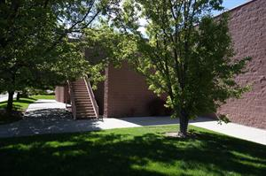 Shady lawn along the south side of the theater. - , Utah