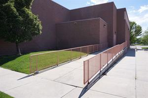 A handicapped ramp leads down from the north exit doors for the main hall. - , Utah