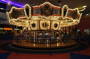 The carousel, with the ticket counter in the back left.