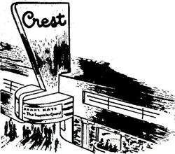 A drawing of the Crest Theatre from the opening day advertisement.