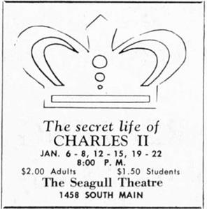 'The Secret Life of Charles II' at the Seagull Theatre.