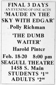 Final 3 days of 'Maude in the Sky with Edgar' and 'The Dumb Waiter' at the Seagull Theatre. - , Utah