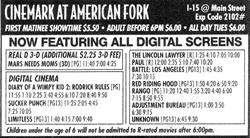 """Newspaper ad for the Cinemark at American Fork, """"Now Featuring All Digital Screens."""""""