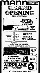 'Grand Opening this weekend!' ad for the Mann 6 Theatres Plaza 5400, with 'acres of free parking.'