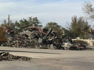 A large pile of metallic debris gathered at the north end of the parking lot. - , Utah