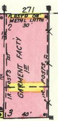 On the 1950 Sanborn map, a garment factory occupied the building at 271 25th Street.