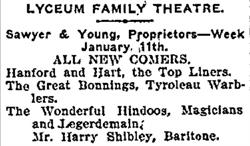 Advertisement for the Lyceum Family Theatre in January 1904, with and Young as proprietors.