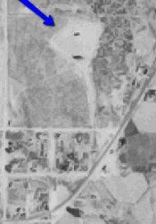 An aerial view of a drive-in theater in 1955.