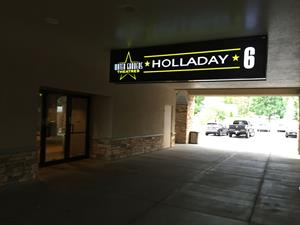 A sign for the Water Gardens Holladay 6 marks the theater entrance. - , Utah