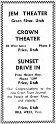 The advertisement is all text, with a checkered border. - , Utah