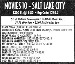Ad for Movies 10, with 'Tangled' and 'Yogi Bear' in digital 3D. - , Utah