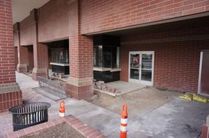 Cut concrete around the entrance, indicating the lobby may be expanded and the ticket counter moved indoors. - , Utah