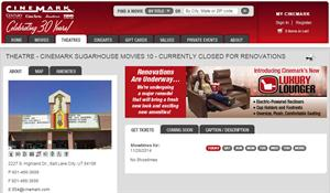 A banner on the Movies 10 web page introduces Cinemark's new Luxury Lounger. - , Utah