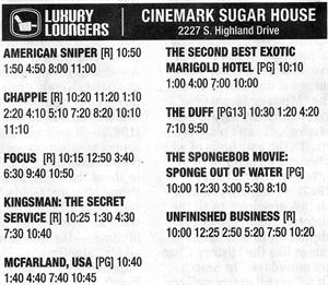 Open day newspaper ad for the remodeled Cinemark Sugar House, featuring Luxury Loungers. - , Utah