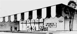 <p>A drawing of the Valley Fair Cinemas from the opening day ad, showing the original entrance on the south side of the theater. The building is not drawn to scale and ignores the length of the two eastern auditoriums.</p>