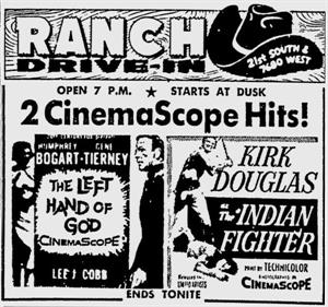 """2 CinemaScope Hits!"", <em>The Left Hand of God</em> and <em>The Indian Fighter</em> end ""tonite"" at the Ranch Drive-In. - , Utah"