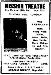 Newspaper advertisement for the Mission Theatre.