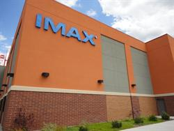 The IMAX logo, on the northwest corner of the building.