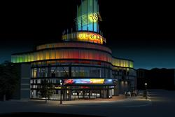 Architectural rendering of the Megaplex 13 exterior at night