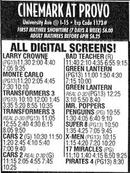 Advertisement for the Cinemark at Provo, featuring all digital screens.