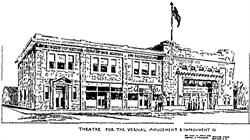 An architect's drawing of the Vogue Theatre in Vernal, Utah. - , Utah