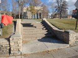 Flagstone walls and steps leading up to the Pioneer Memorial Theatre from the sidewalk on 1400 East. - , Utah