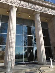 Like the original Salt Lake Theatre, the entrance of the Pioneer Memorial Theatre features two columns.