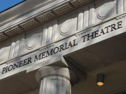 The name of the theater, above one of the two columns. - , Utah