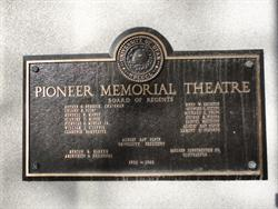 A plaque on the left side of the entrance lists the board of regents, architect, and contractor for the Pioneer Memorial Theatre. - , Utah