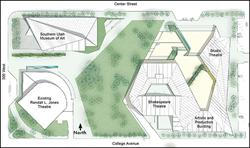 A map of the new Beverley Taylor Sorenson Center for the Performing Arts, between Center Street and College Avenue.  The center includes the existing Randall L. Jones Theatre, the Souther Utah Museum of Art, the new Shakespeare Theatre, and a studio theater. - , Utah